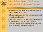 title i school parent involvement policy and school parent compact