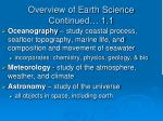 overview of earth science continued 1 1