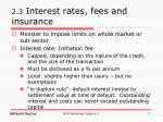 2 3 interest rates fees and insurance
