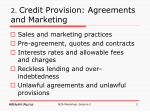 2 credit provision agreements and marketing