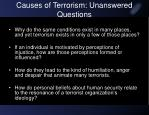 causes of terrorism unanswered questions