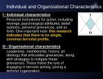 individual and organizational characteristics