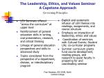 the leadership ethics and values seminar a capstone approach