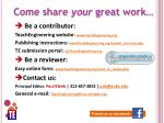 come share your great work