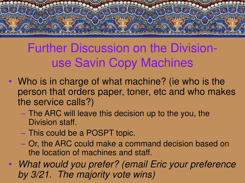 Further Discussion on the Division-use Savin Copy Machines