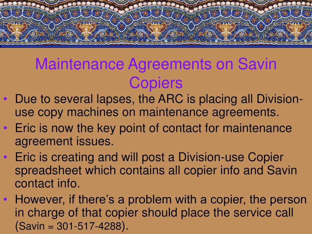 Maintenance Agreements on Savin Copiers