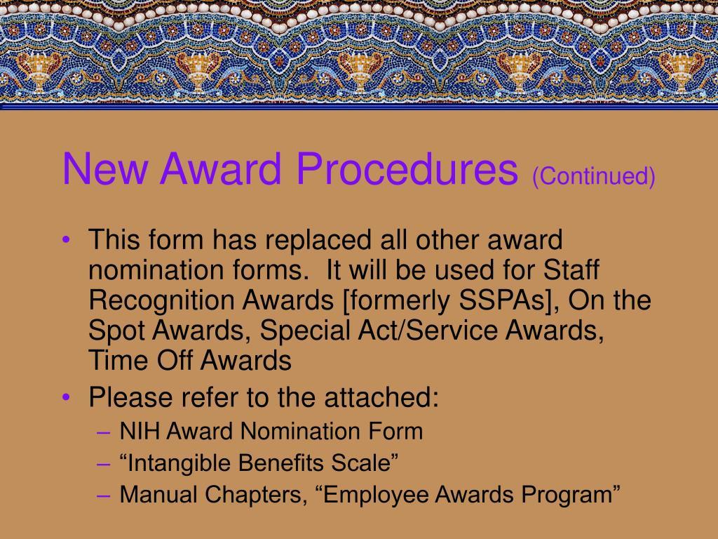 New Award Procedures