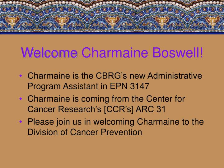 Welcome charmaine boswell