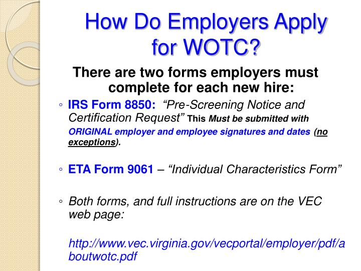 Ppt Work Opportunity Tax Credit Wotc Powerpoint Presentation