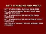 rett syndrome and mecp2