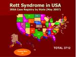 rett syndrome in usa irsa case registry by state may 2007