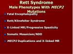 rett syndrome male phenotypes with mecp2 mutations