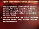 rights and duties of parents guardians