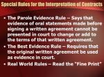 special rules for the interpretation of contracts