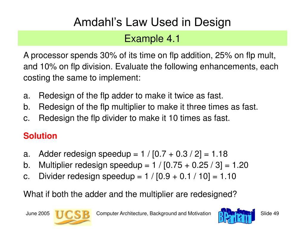 Amdahl's Law Used in Design