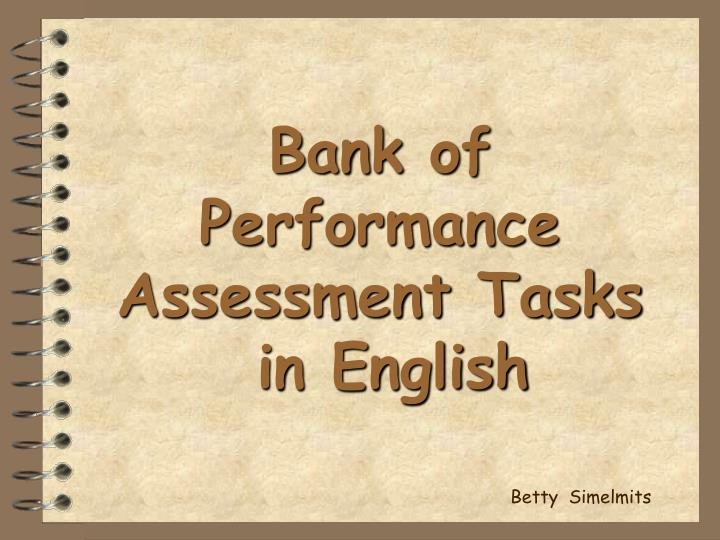 bank of performance assessment tasks in english n.