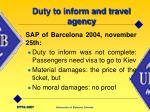 duty to inform and travel agency