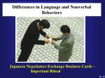 differences in language and nonverbal behaviors1