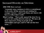increased diversity on television