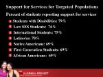 support for services for targeted populations