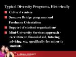 typical diversity programs historically
