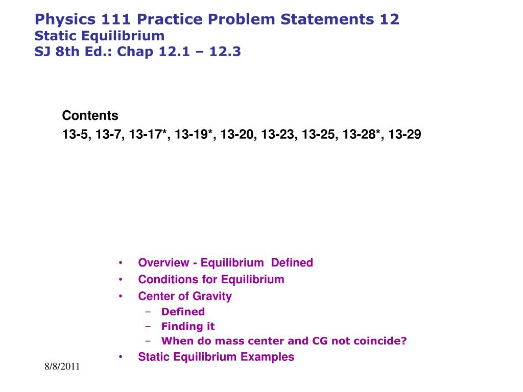 how to solve equilibrium problems physics