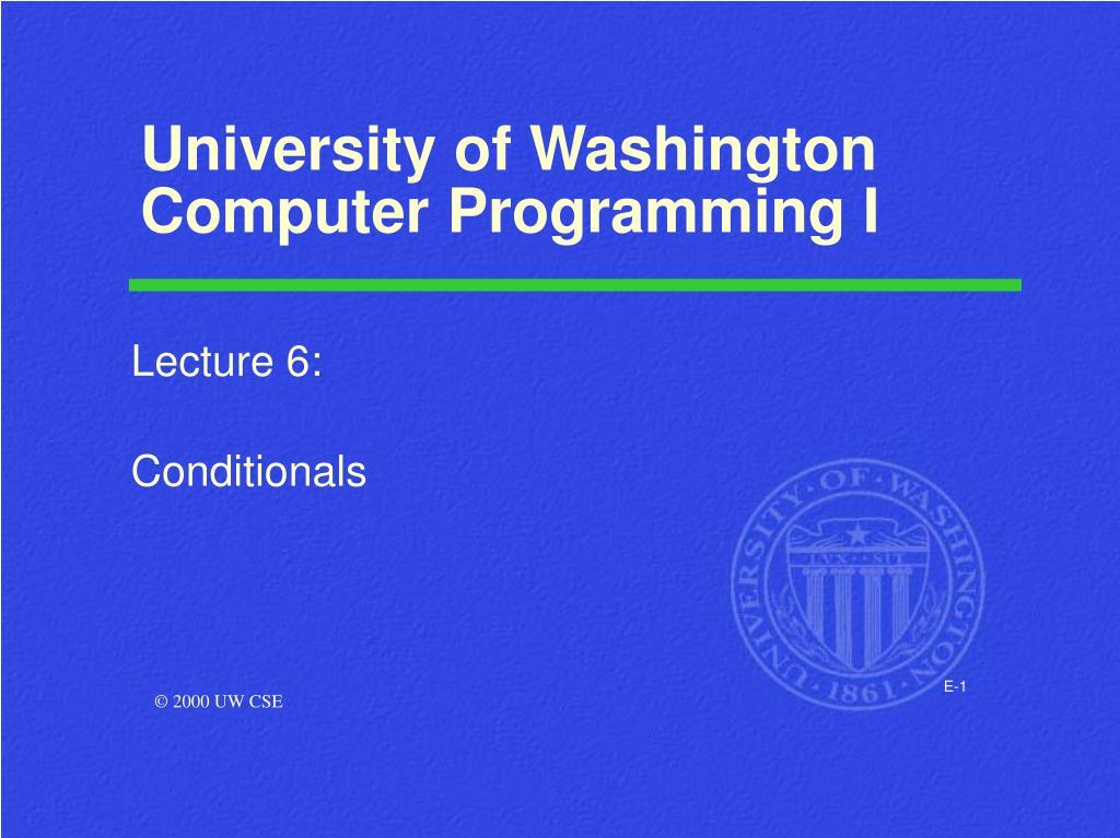 university of washington computer programming i l.