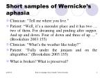 short samples of wernicke s aphasia