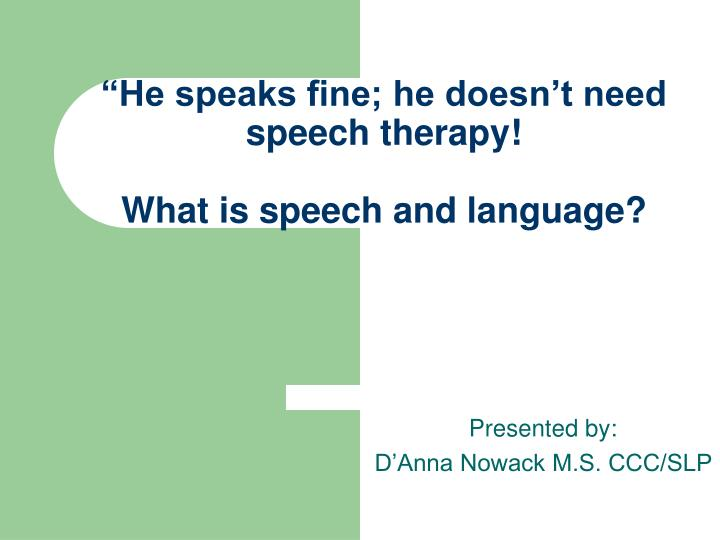 he speaks fine he doesn t need speech therapy what is speech and language n.