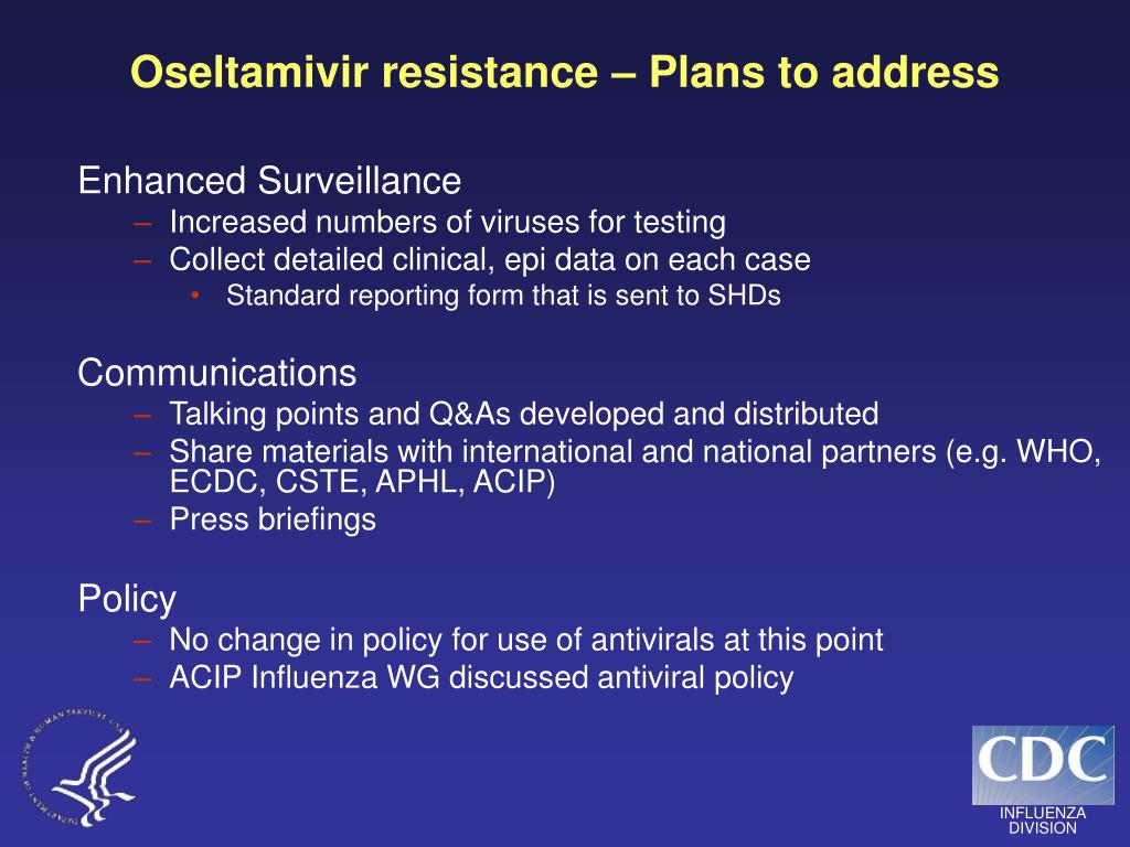 Oseltamivir resistance – Plans to address