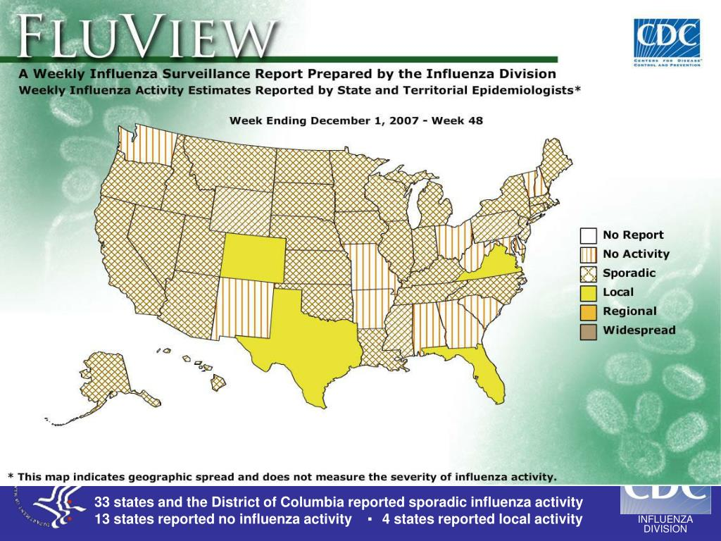 33 states and the District of Columbia reported sporadic influenza activity