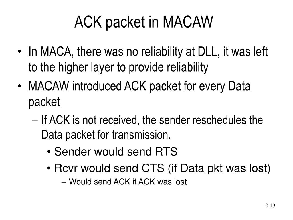 ACK packet in MACAW