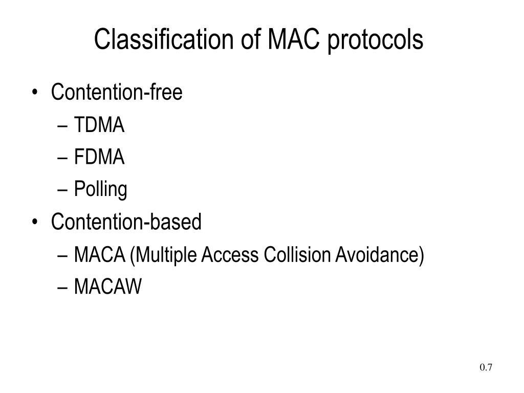 Classification of MAC protocols