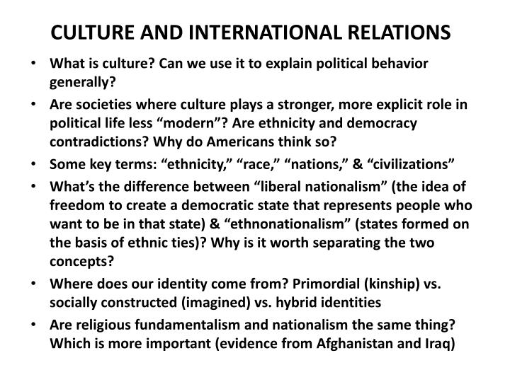 culture and international relations n.