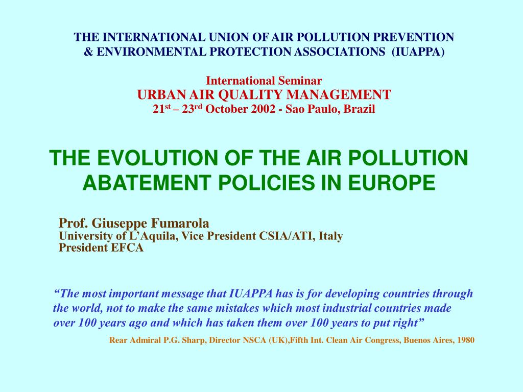 the evolution of the air pollution abatement policies in europe l.