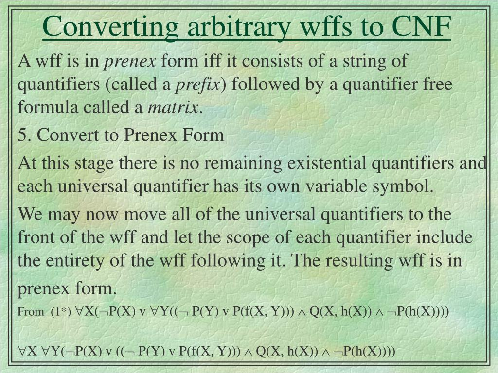 converting arbitrary wffs to cnf l.