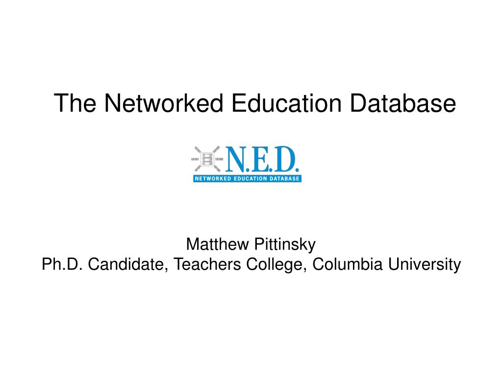 the networked education database l.