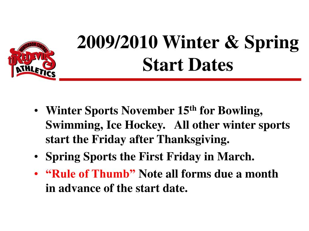 2009/2010 Winter & Spring Start Dates