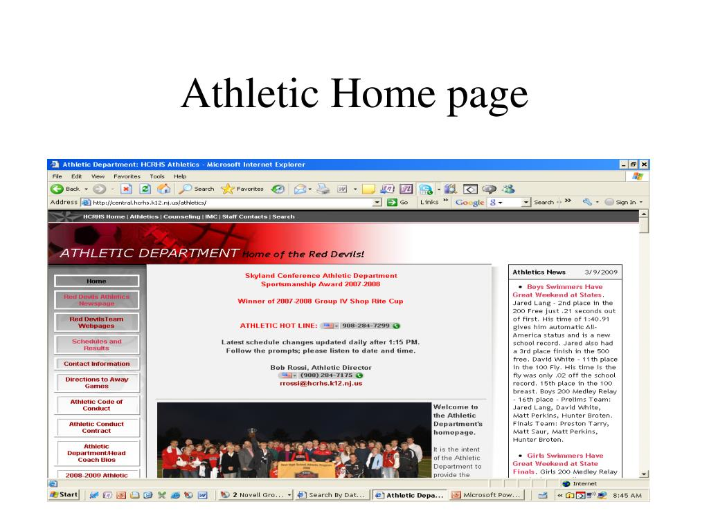 Athletic Home page