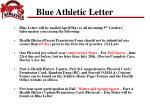 blue athletic letter