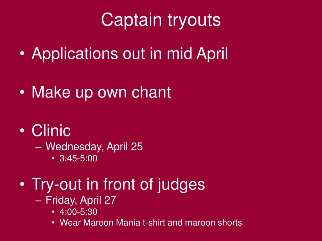 Captain tryouts