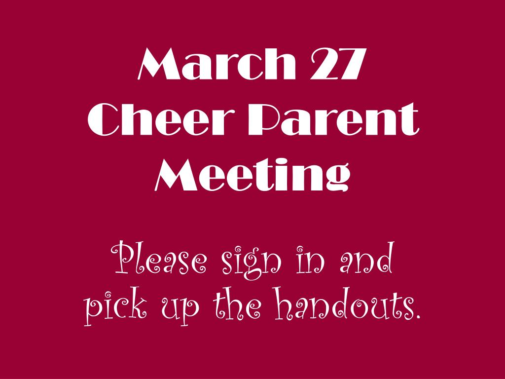 march 27 cheer parent meeting l.
