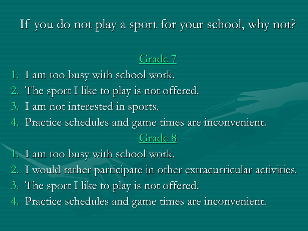 If you do not play a sport for your school, why not?