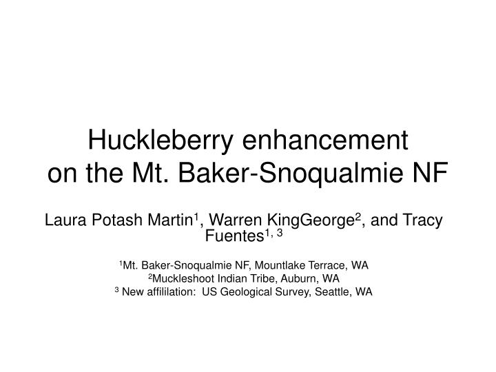 Huckleberry enhancement on the mt baker snoqualmie nf