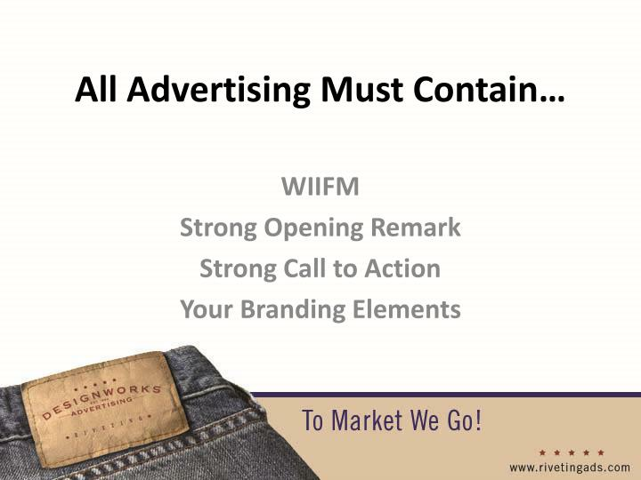 All Advertising Must Contain…