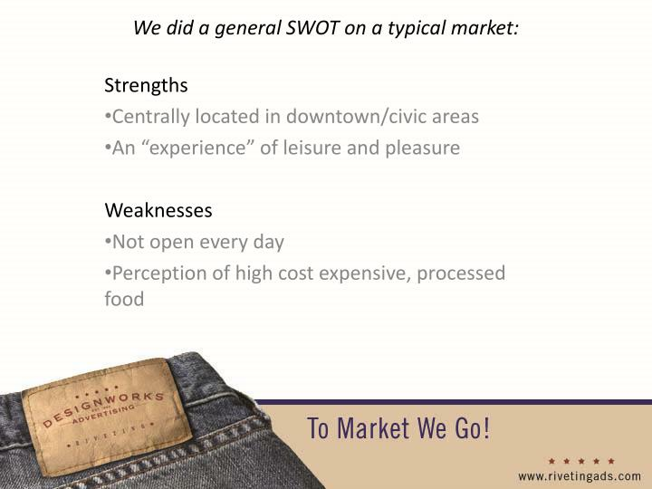 We did a general SWOT on a typical market: