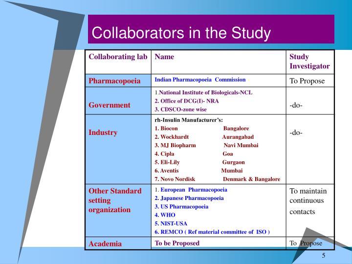 Collaborators in the Study