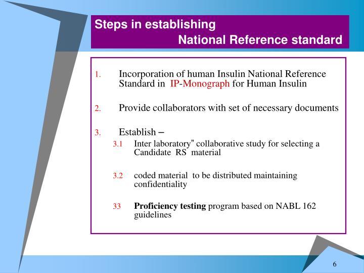 Steps in establishing