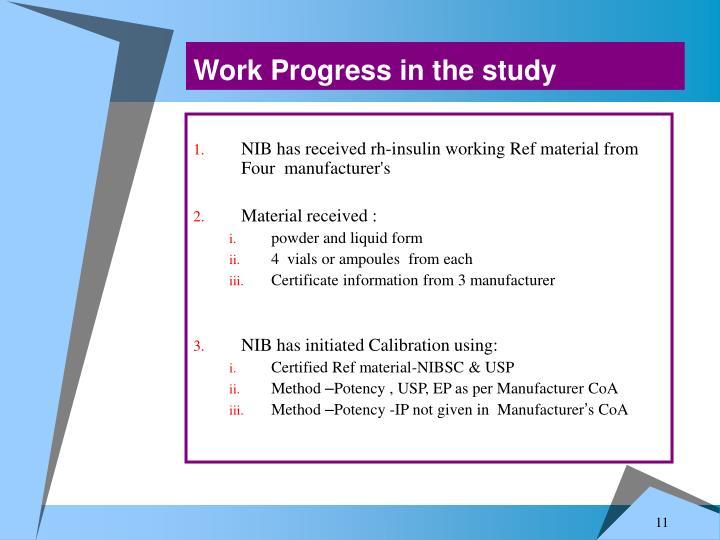 Work Progress in the study