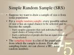 simple random sample srs